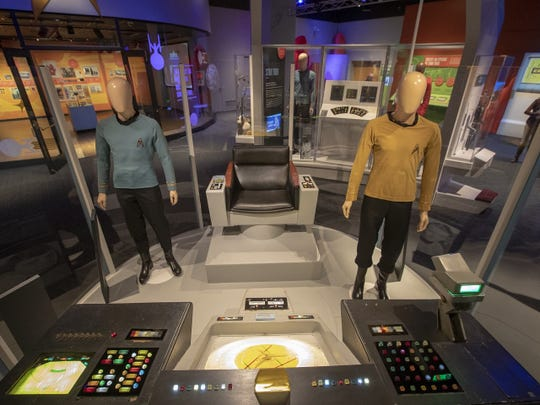 "Enterprise bridge featuring original helm and navigation control console from ""Star Trek"" TV series, 1966-69."