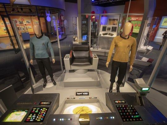 "Enterprise bridge featuring original helm and navigation control console from ""Star Trek"" TV series, 1966-69."