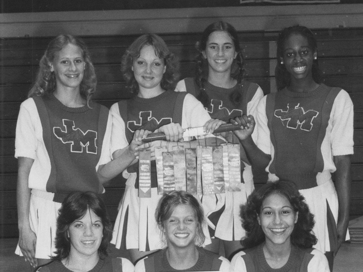 The John Marshall High School varsity cheerleading squad in 1980. 
