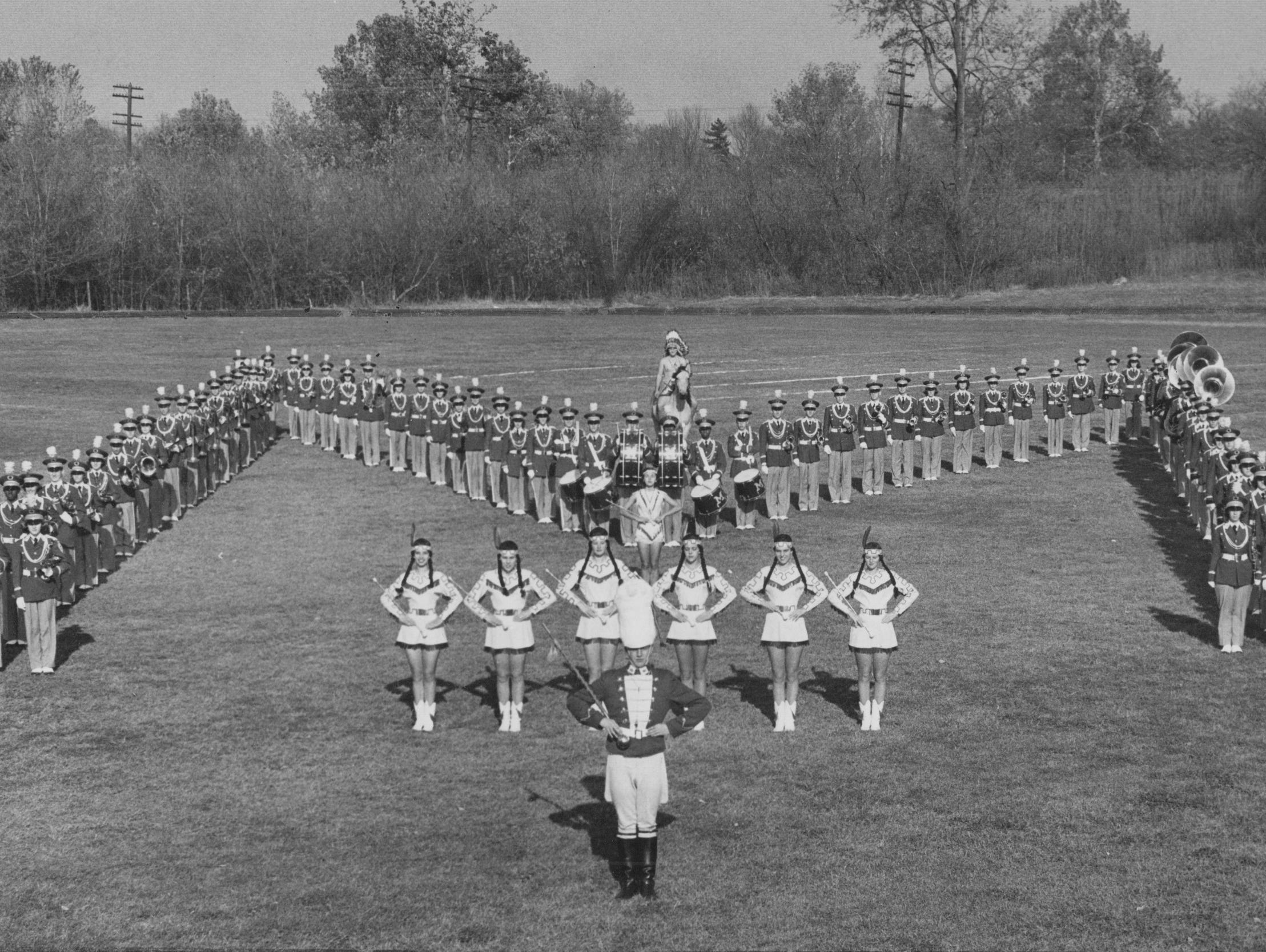 Manual High School marching band in 1958. The band received the Downtown Kiwanis Club award as the city's best for the fourth straight year.