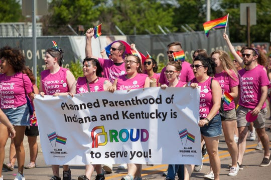 Planned Parenthood of Indiana and Kentucky marches in the Indy Pride Parade in downtown Indianapolis on June 9, 2018.