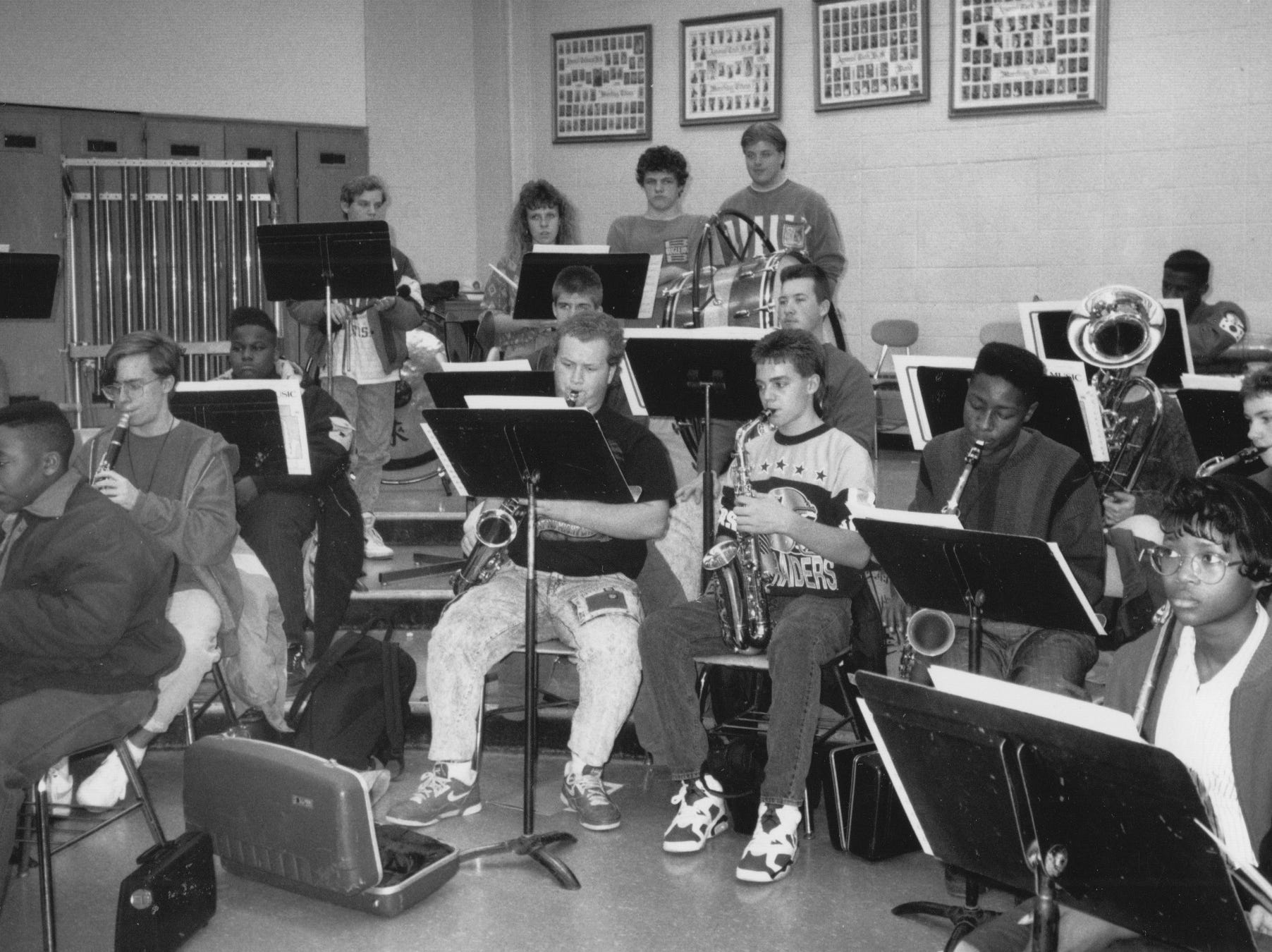 Tech High School's Marching Titans practice in 1991. The band was practicing for their appearance in the Beach Bowl parade.