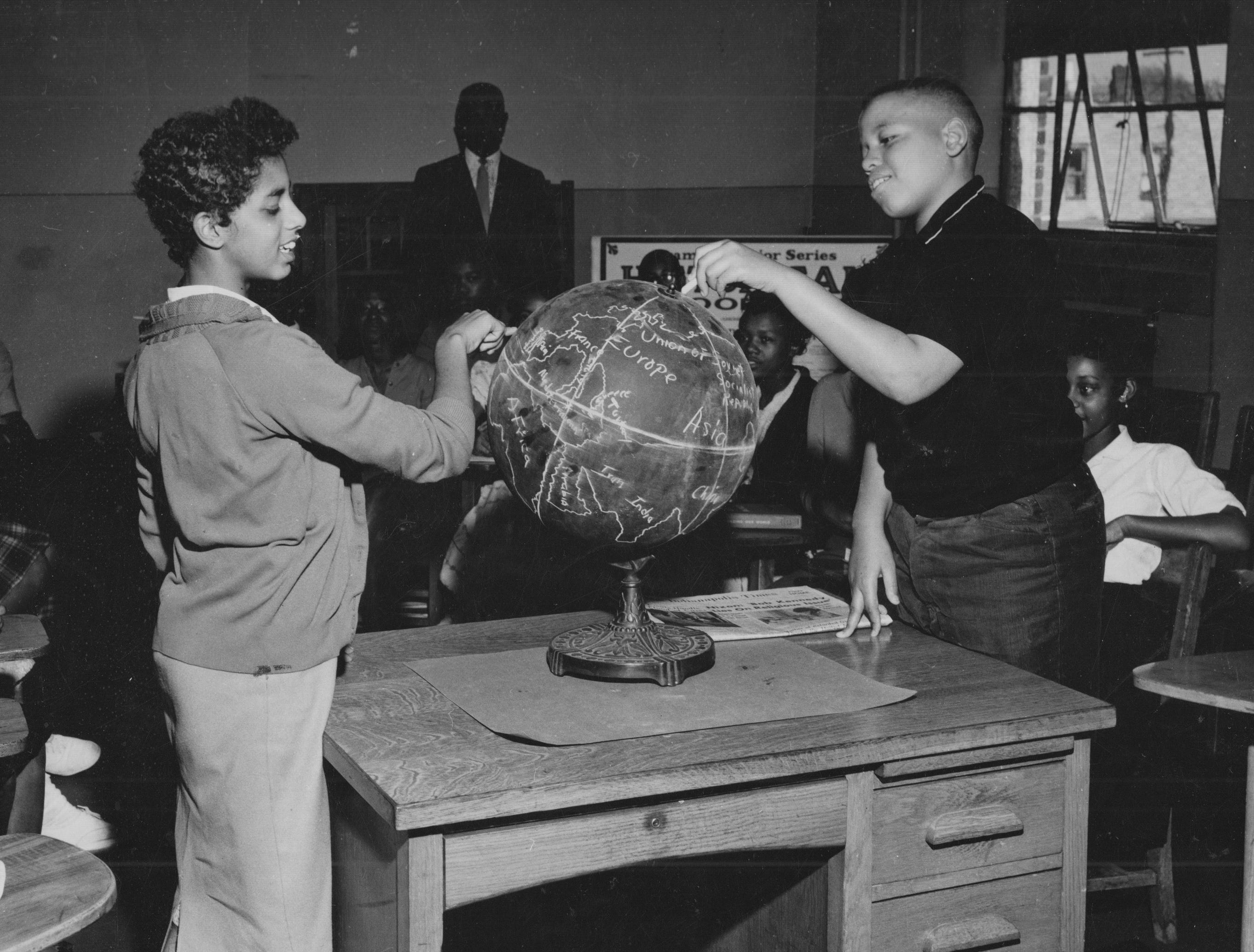 Students during a geography class at Crispus Attucks - date unknown.