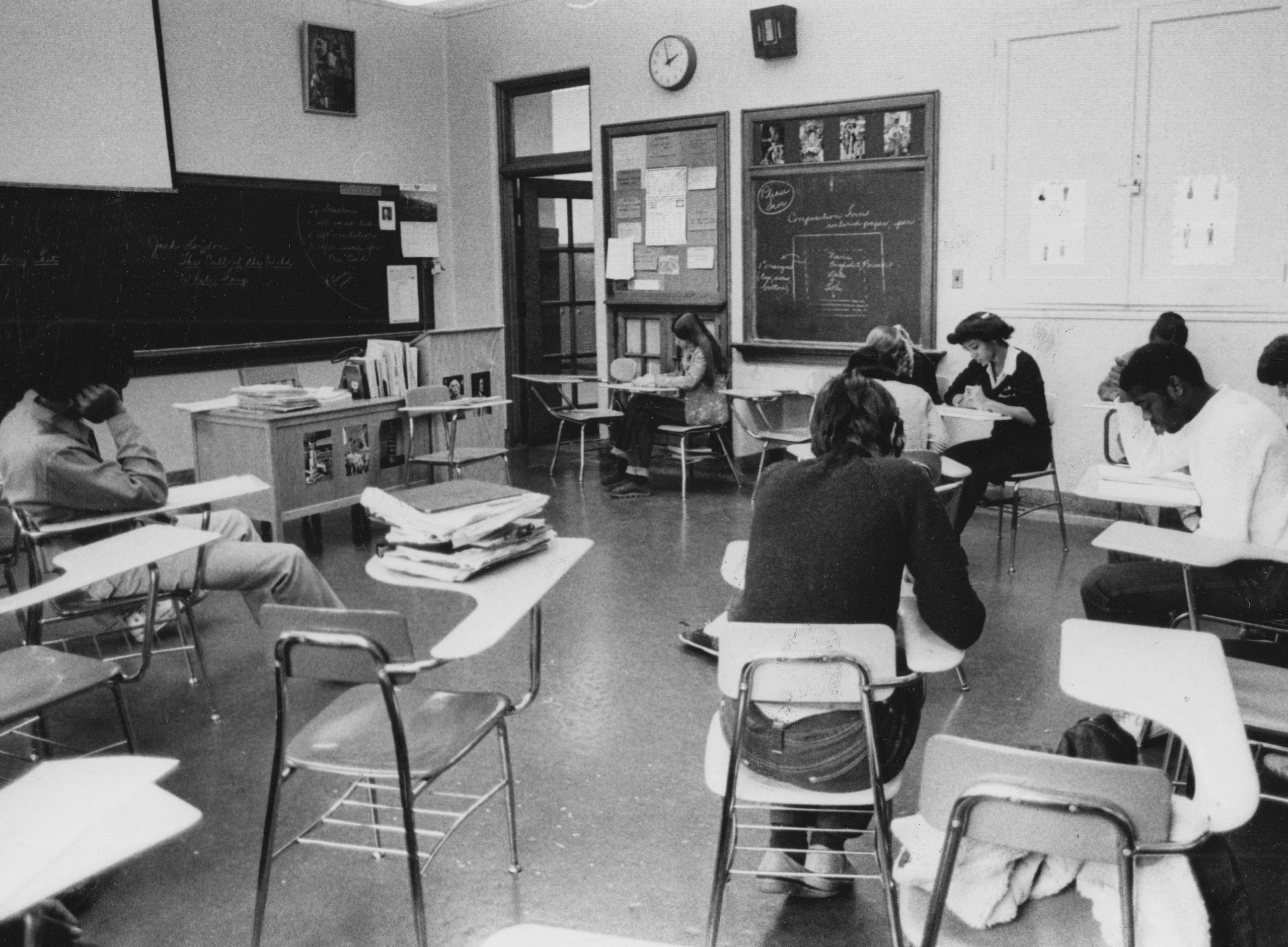 Shortridge students in an English composition class in 1981.