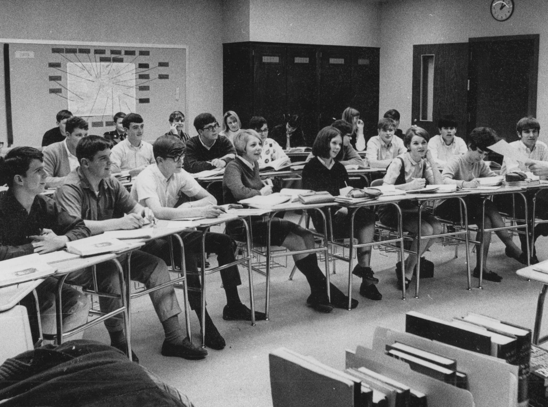 Laura Harvey lectures a class in German at Marshall High School in 1967. The $6.2 million school which opened in the spring of 1967 was named after John Marshall, second chief justice of the U.S. Supreme Court. The school's enrollment that year was 1,200 but the school had the capacity for 2,400 students.