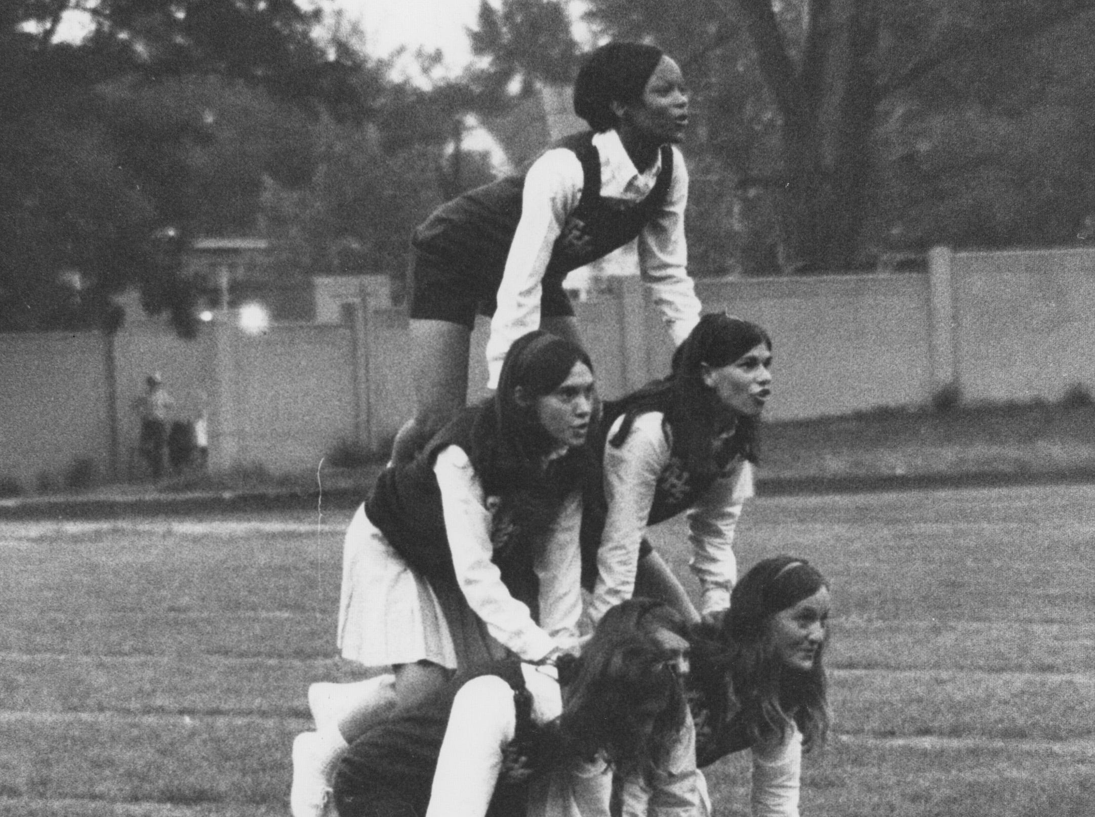 Arsenal Tech cheerleaders form a pyramid at the Tech-Howe football game at Howe on Sept. 5, 1969. The Titans lost to Howe's Hornets, 24-15.