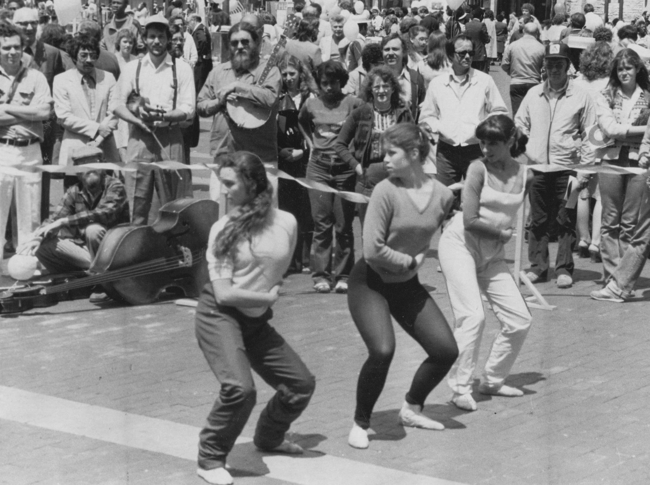 "The Shortridge High School School of Performing Arts dancers Francesca Manfriedi, Hannah Meadows andStephanie Scopelitis put on a dance during the ""Circle Celebration"" on Monument Circle in 1981."
