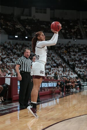 Mississippi State's Andra Espinoza-Hunter (2) shoots a three-point shot in the second half. Mississippi State played South Carolina in a women's SEC basketball game at Humphrey Coliseum on Thursday, January 17, 2019. Photo by Keith Warren