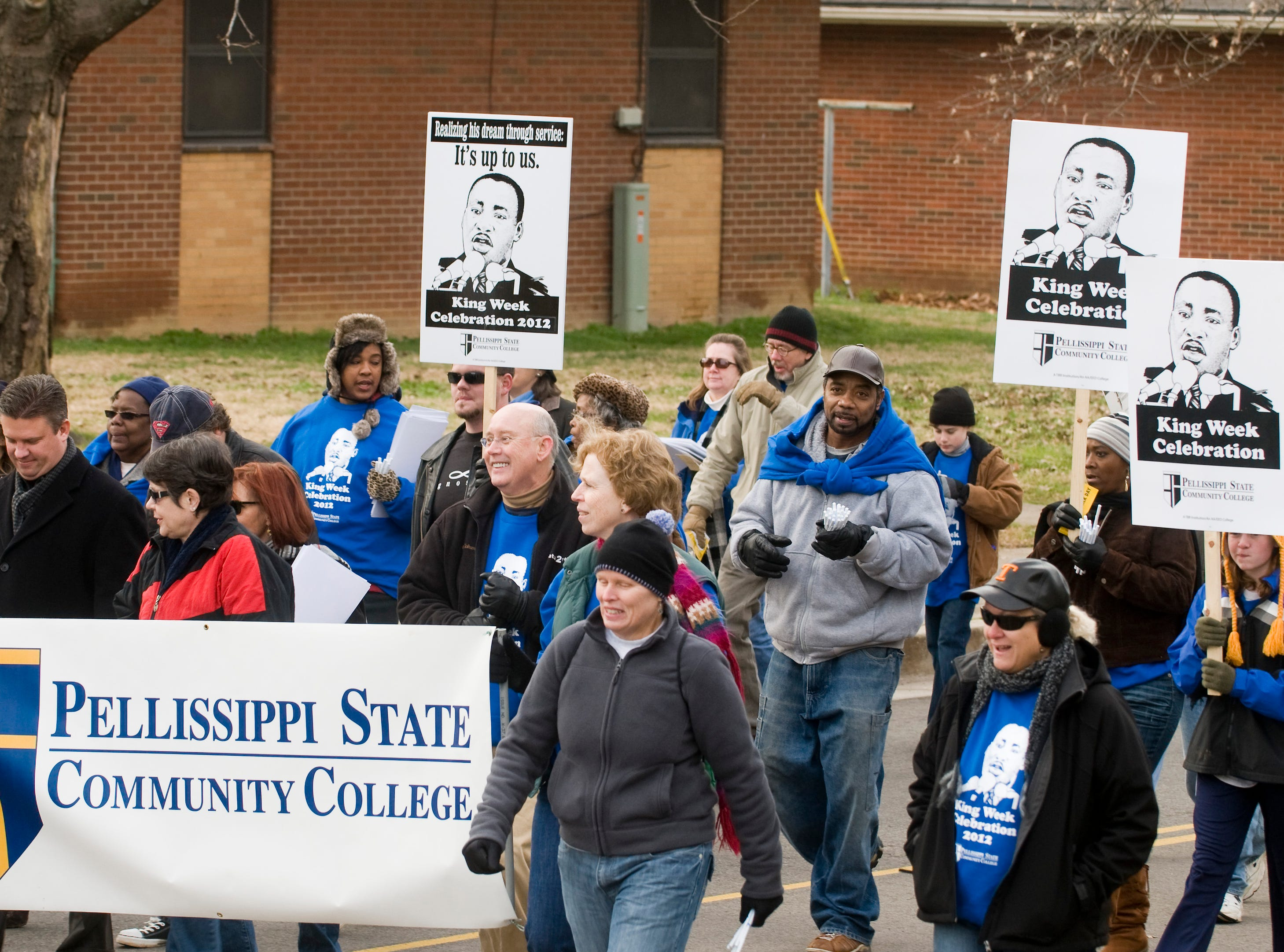 Members of Pellissippi State Community College.  The annual Dr. Martin Luther King, Jr. Memorial Parade starts at 10am at Tabernacle Baptist Church, 2137 Martin Luther King, Jr., Blvd. and ended at Greater Warner Tabernacle AME Zion Church, 3800 Martin Luther King Jr. Avenue. Hundreds of people and groups  including local elected officials marched the one and a half miles from start to finish. After the parade the Dr. Martin Luther King, Jr. Memorial Service was held at the Warner Tabernacle AME Zion Church with  Rev. Dr. Charles E. Goodman, Jr., senior pastor of Tabernacle Baptist Church in Augusta, Ga., is the guest speaker. Music by the Martin Luther King Holiday Celebration Choir directed Aaron Staple.  (J. MILES CARY/NEWS SENTINEL )