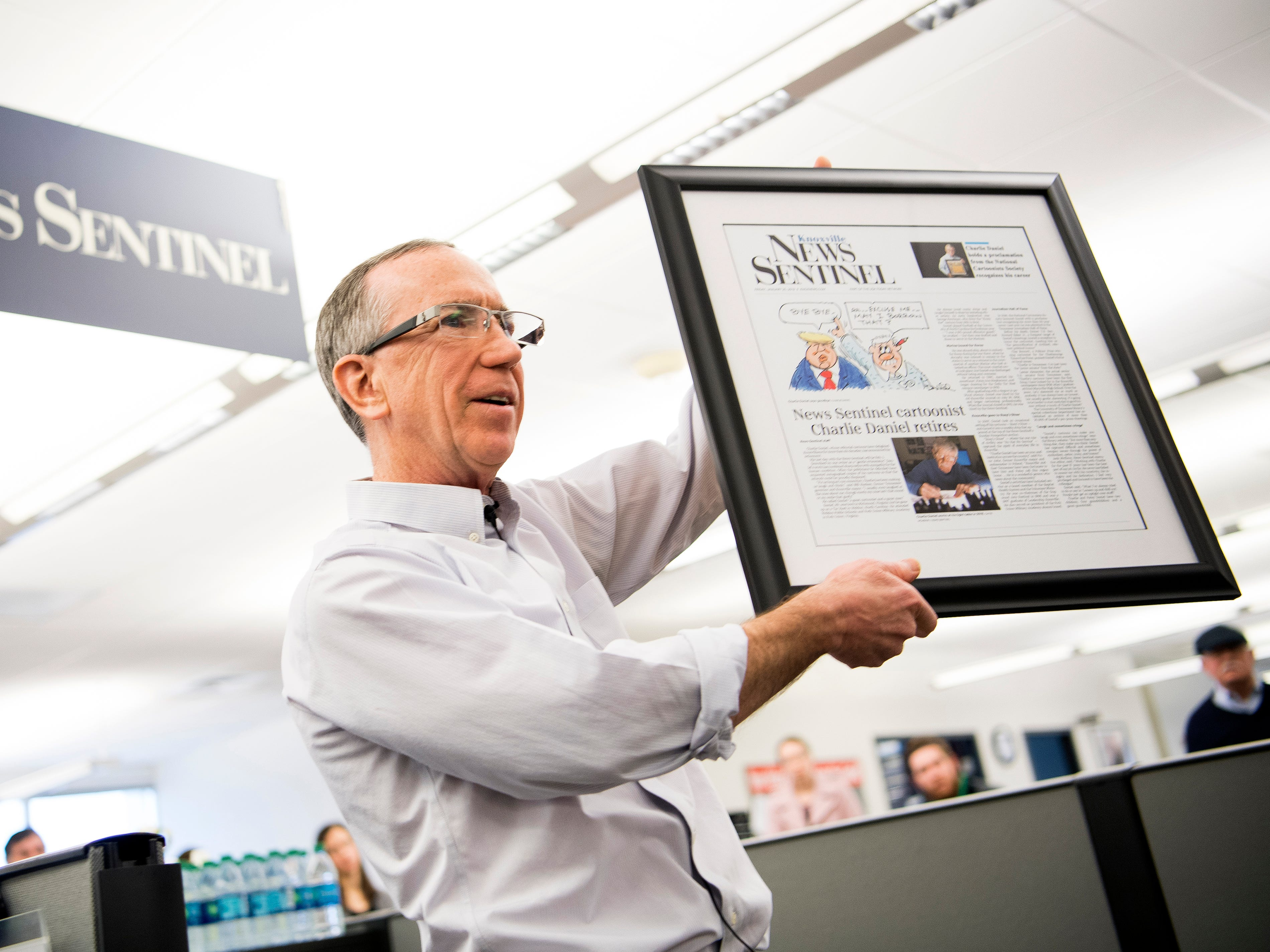 News Sentinel Executive Editor Jack McElroy speaks during a celebration for the retirements of executive editor Jack McElroy and cartoonist Charlie Daniel in the News Sentinel newsroom on Friday, February 1, 2019.