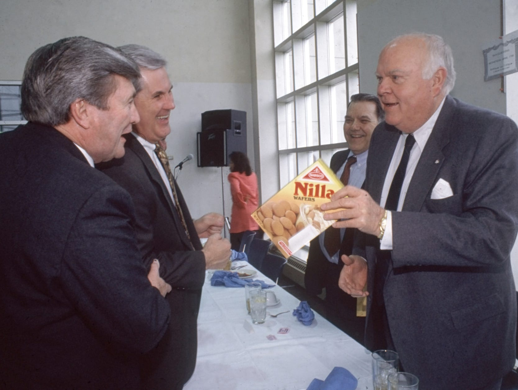 State Rep. W. Townsend Anderson, left, Blount County Executive Bill Crisp, lawyer Keith McCord and Gov. Ned McWherter share a laugh April 2, 1993 at Pellissippi State Community College. The governor is holding a box of vanilla wafers - one of his favorite deserts - that was left at his place at the head table. The occasion was a ceremony for the naming of Pellissippi's Ned R. McWherter Technology Building. McWherter, who was governor from 1987 to 1995, died April 4, 2011 in Nashville at 80. (News Sentinel Archive)