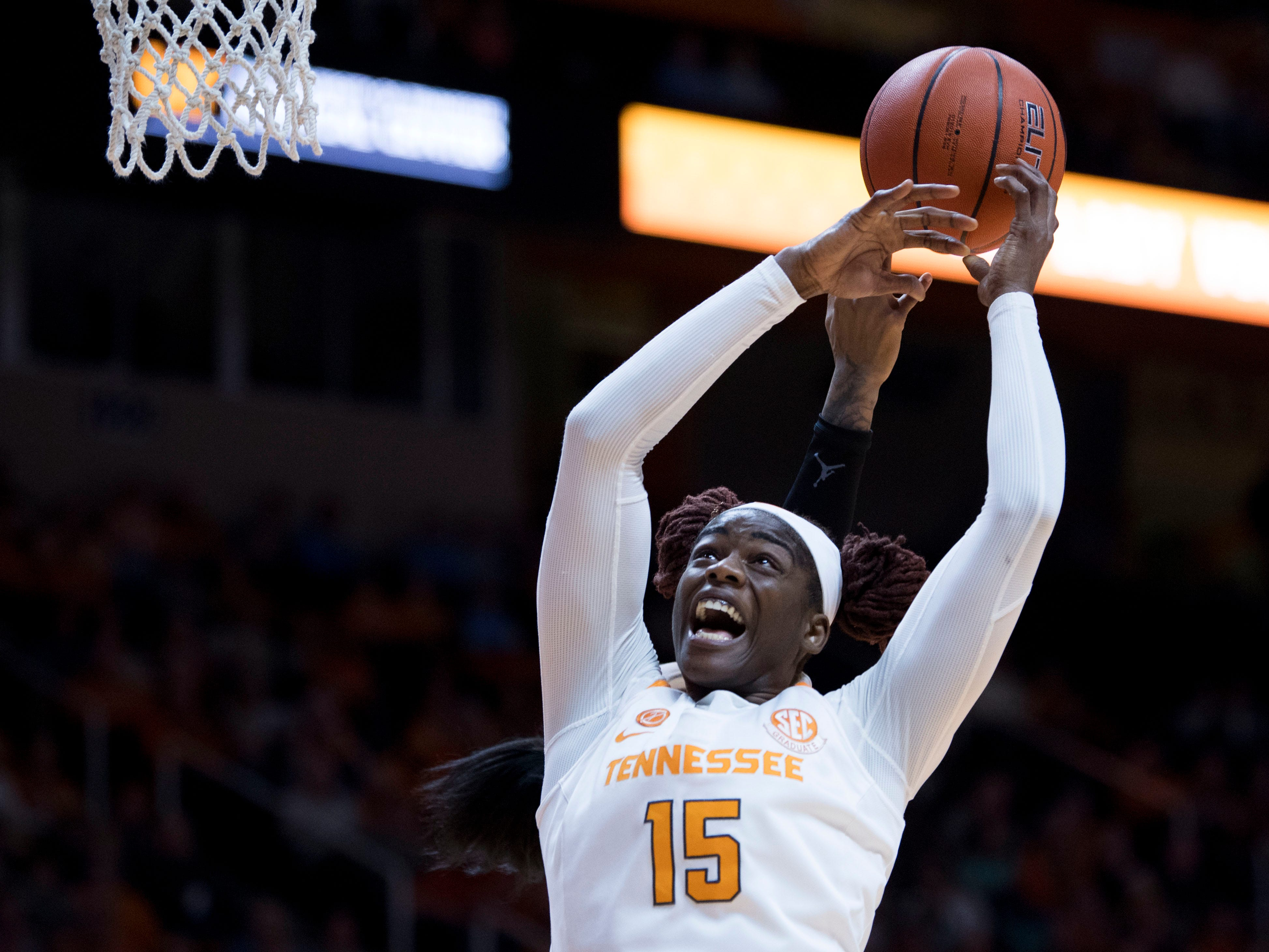 Tennessee's Cheridene Green (15) tries to get the rebound in the game against Florida on Thursday, January 31, 2019. Green finished the game with a double double.