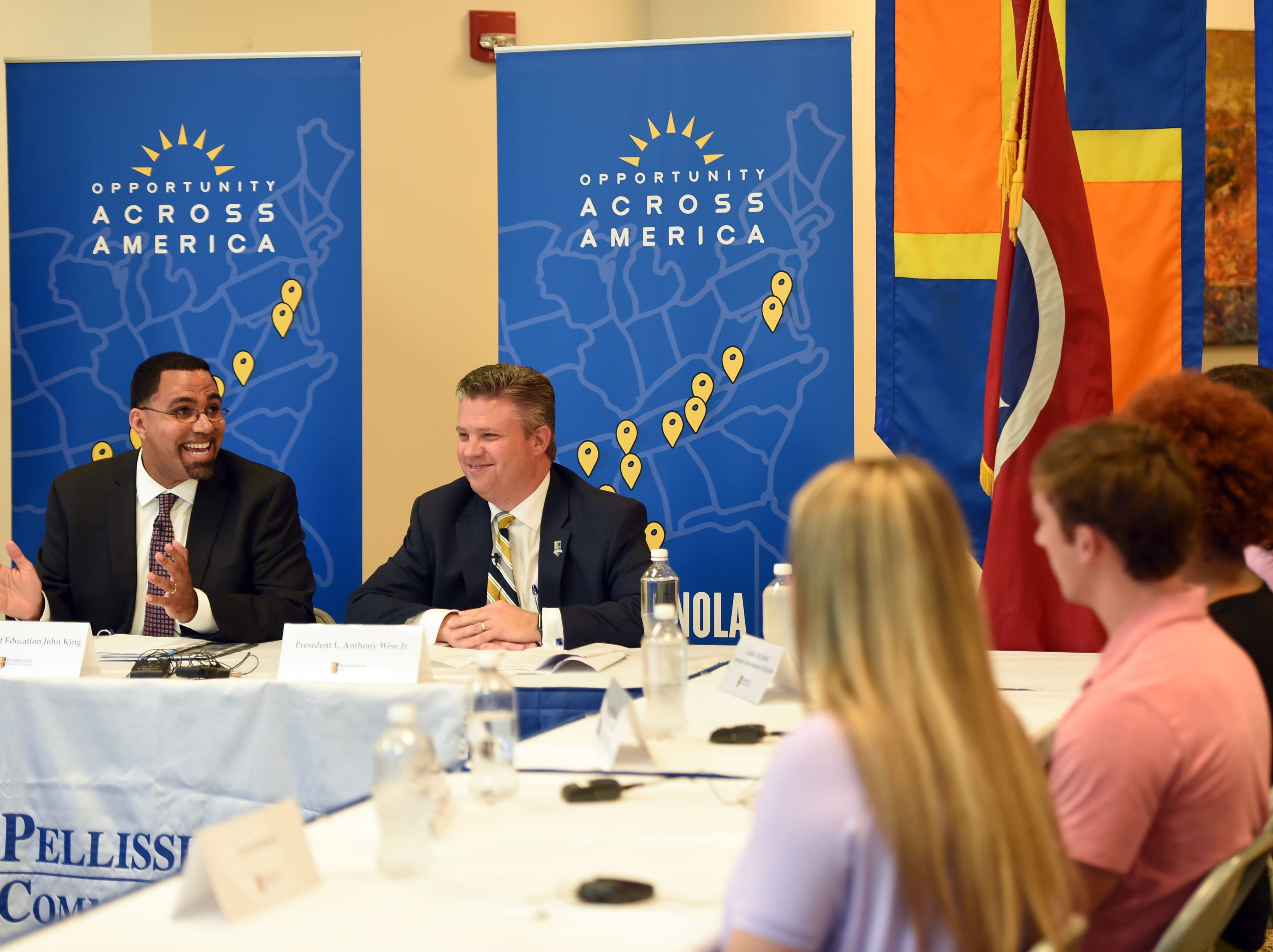 US Education Secretary John King and PSCC president Dr. Anthony Wise, center, lead a countable discussion at Pellissippi State Community College about the American Promise proposal Tuesday Sept. 13, 2016. (AMY SMOTHERMAN BURGESS/NEWS SENTINEL)