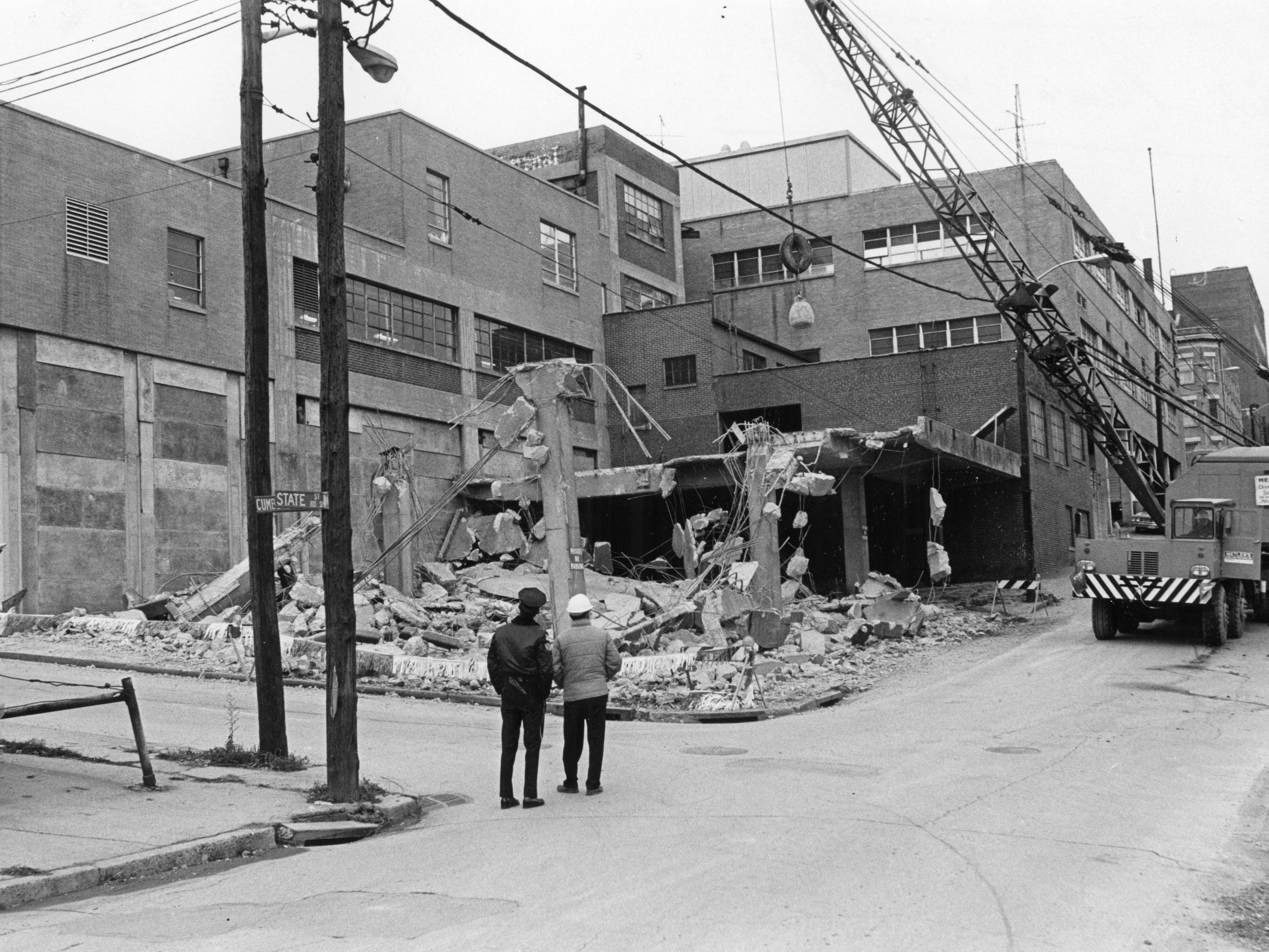 """""""Changing with the times"""" reads the headline of this December 10, 1972 photo of a section of the Knoxville News Sentinel Building being demolished."""