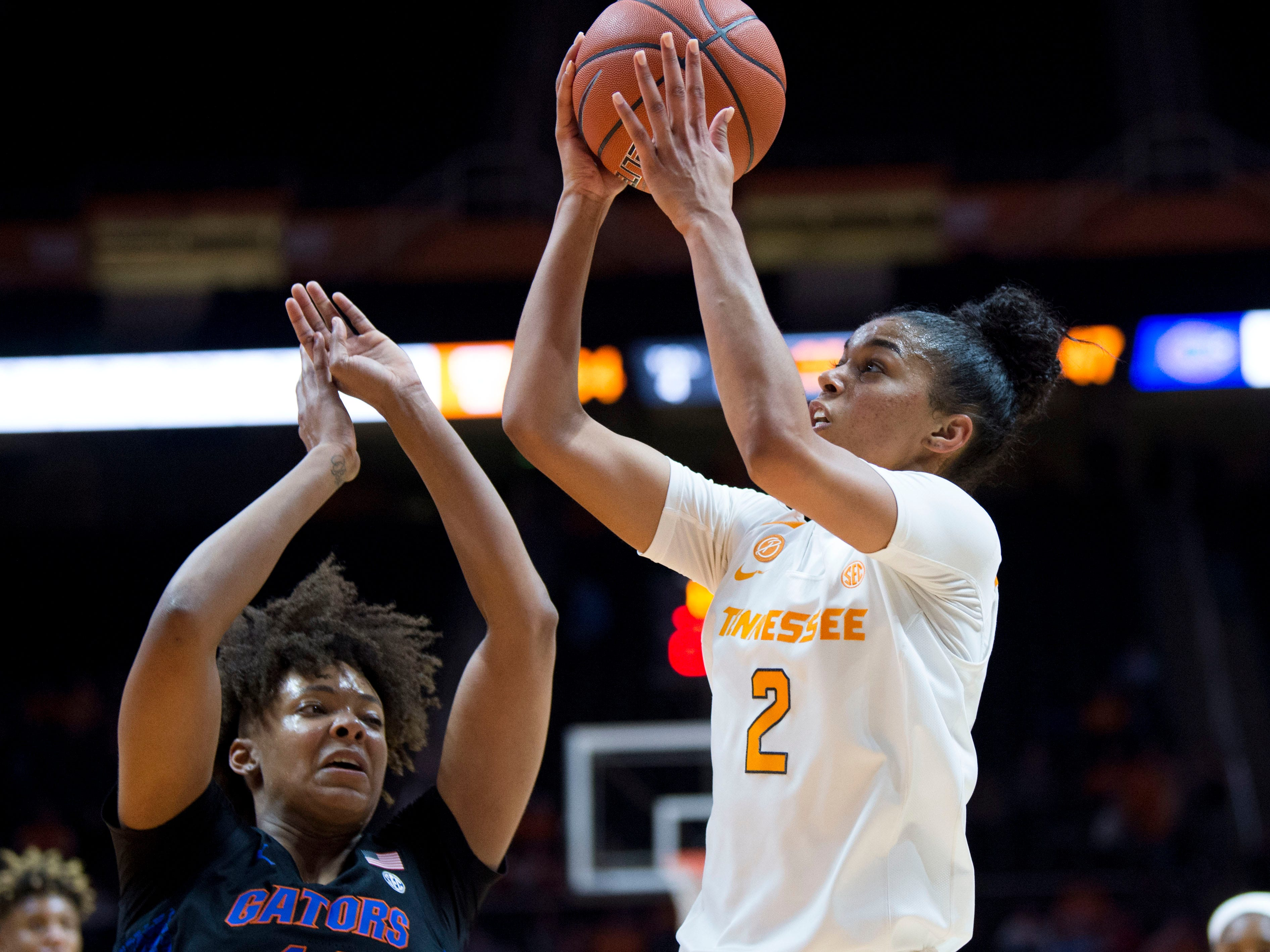 Tennessee's Evina Westbrook (2) takes a shot at the basket over Florida's Zada Williams (12) on Thursday, January 31, 2019.