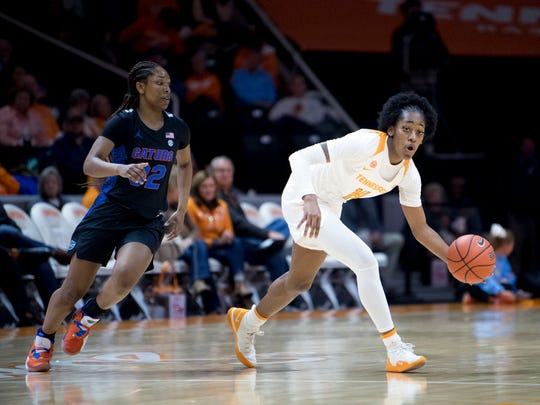 Tennessee's Zaay Green (14) brings the ball downcourt while guarded by Florida's Ariel Johnson (32) on Thursday, January 31, 2019.