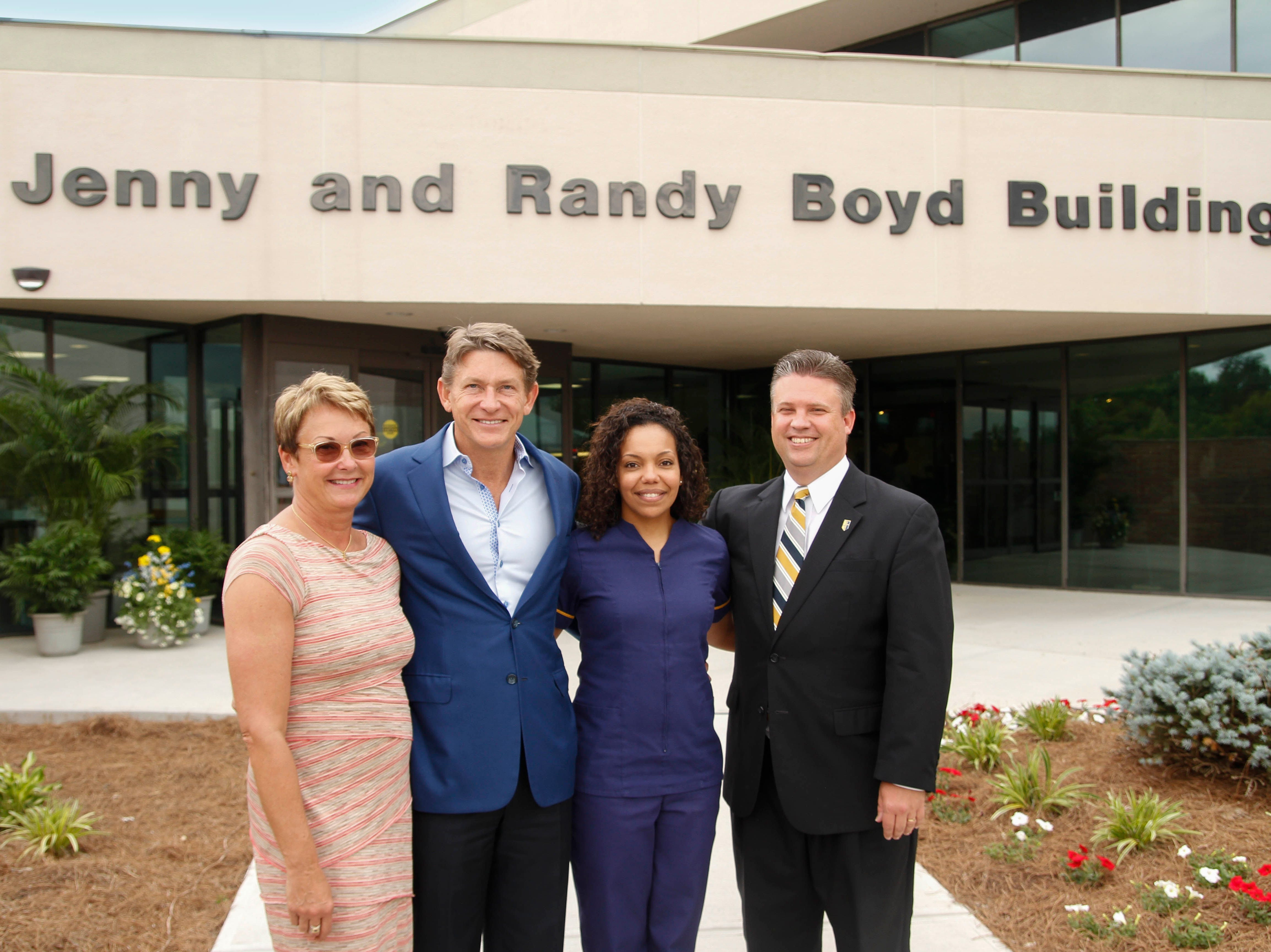 Pellissippi State Community College dedicated the Jenny and Randy Boyd building at its Strawberry Plains Campus. From left are Jenny and Randy Boyd, Pellissippi State nursing student Chisa Huffman and Pellissippi State President L. Anthony Wise Jr.