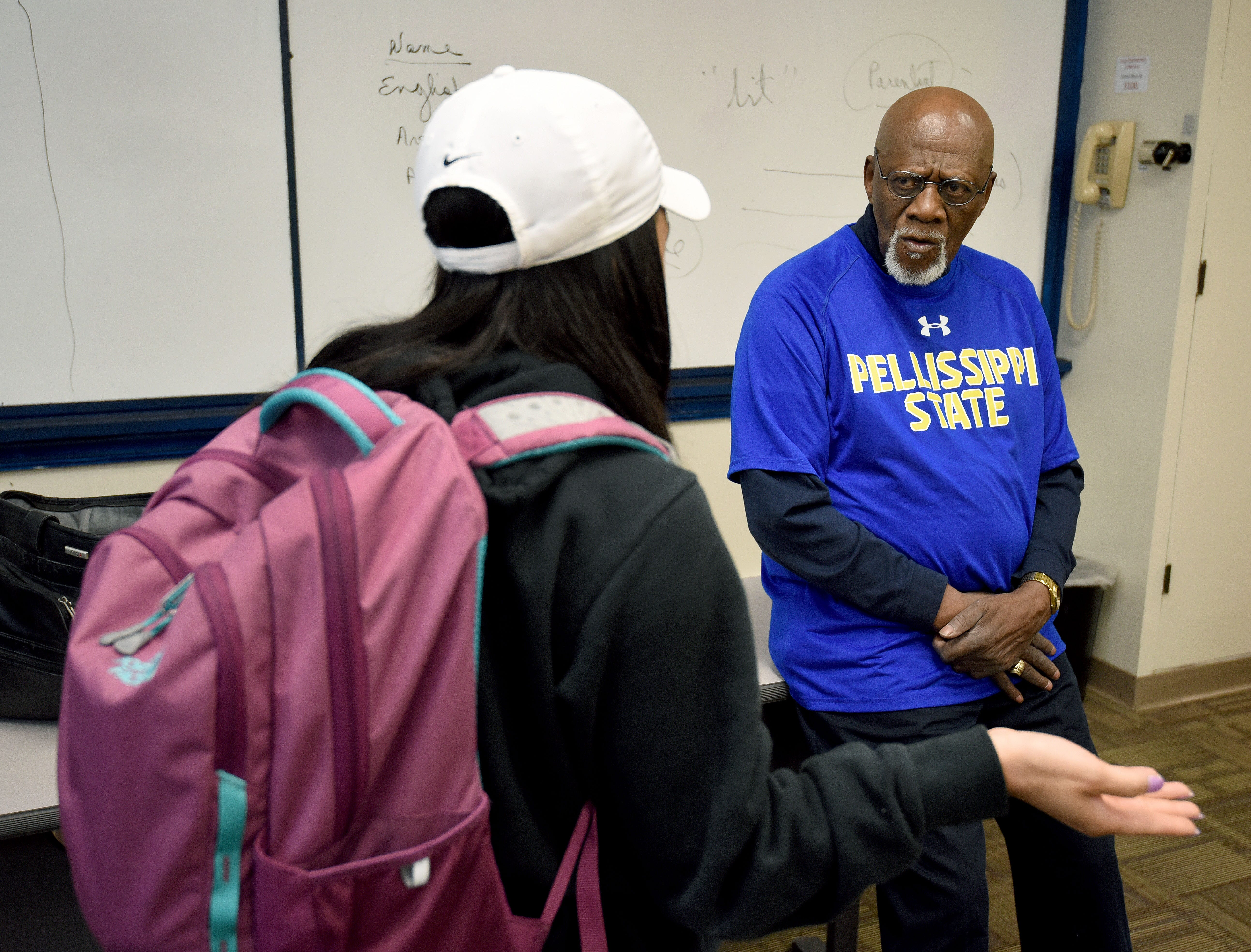Robert Boyd talking to a student at the end of one of his last classes Wednesday, April 25, 2018. The eighty-three-year-old professor is retiring from Pellissippi State Community College.