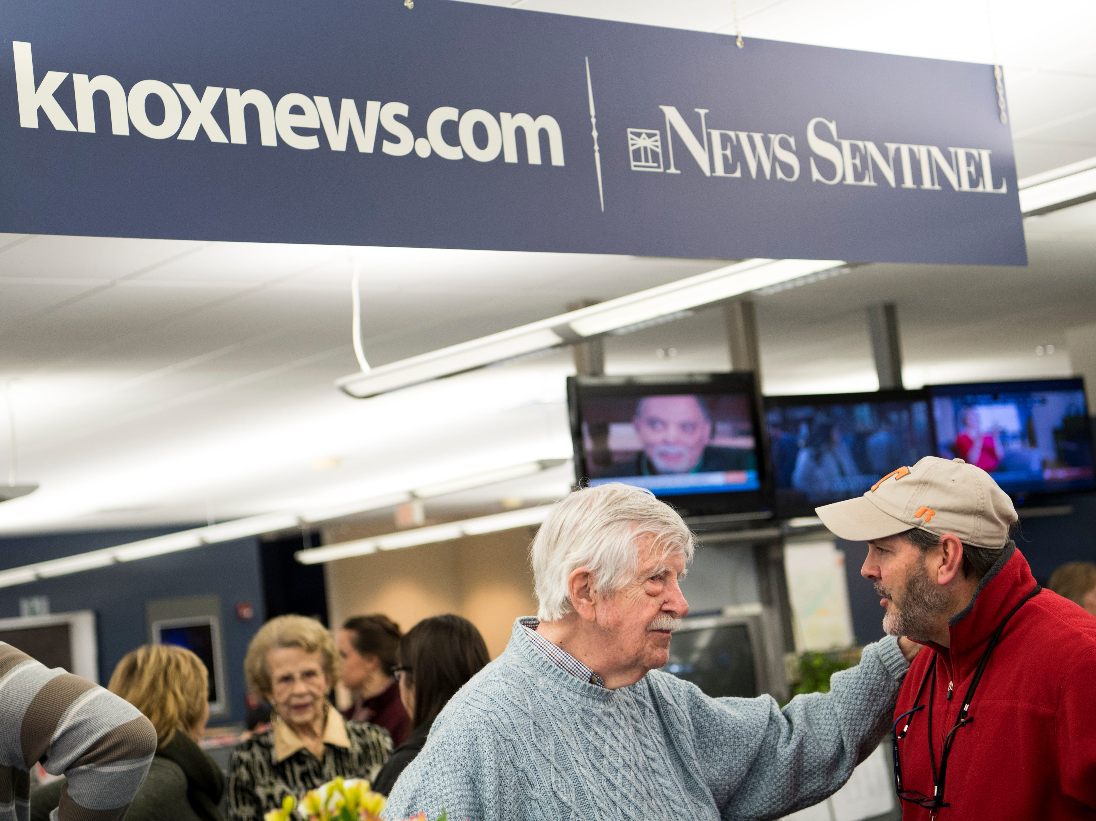 The Knoxville News Sentinel celebrated the retirements of executive editor Jack McElroy and cartoonist Charlie Daniel in the News Sentinel newsroom on Friday, February 1, 2019.