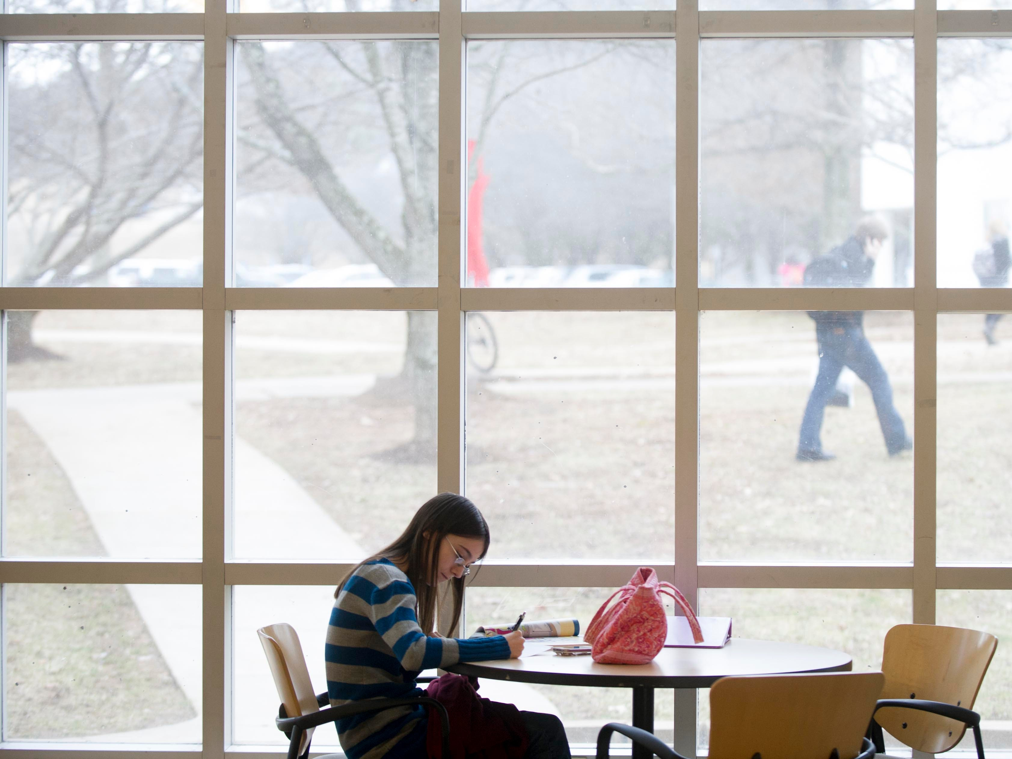 "Pellissippi State Community College student Kristy Hilliard studies inside the J.L. Goins Administration building at the college's Hardin Valley campus on Tuesday, February 4, 2014. Governor Bill Haslam proposed the ""Tennessee Promise"", a program that will provide two free years of community college or trade school for high school graduates.