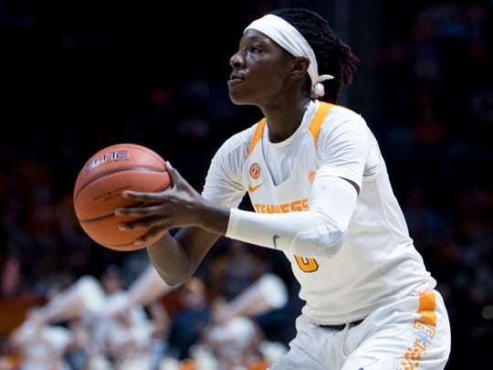 Tennessee's Rennia Davis (0) makes a 3-point attempt in the game against Florida on Thursday, January 31, 2019.