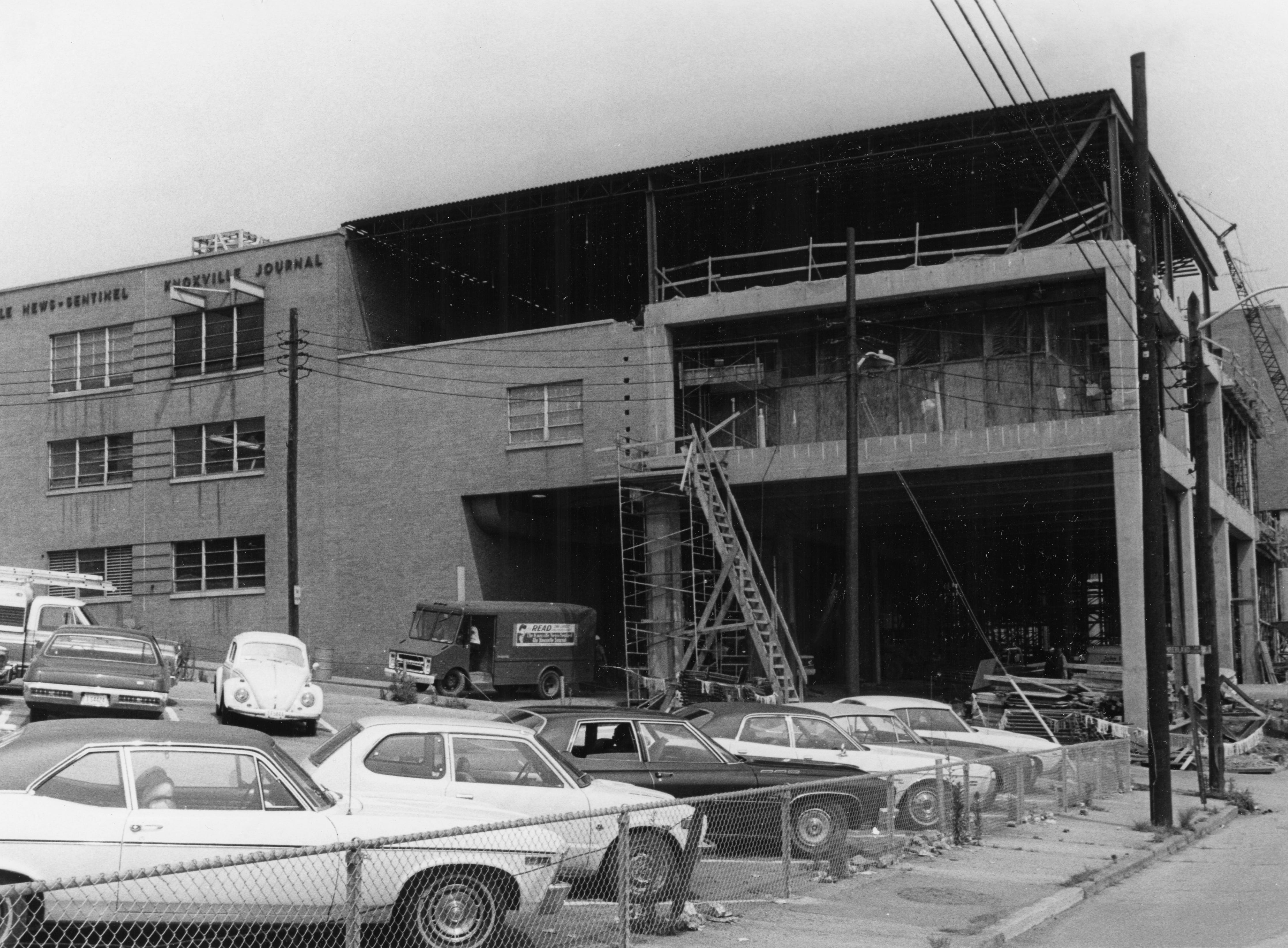 Undated photo of construction on the Knoxville News Sentinel Building.