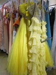 Yellow party-style dresses are among the thousands of dresses for sale.