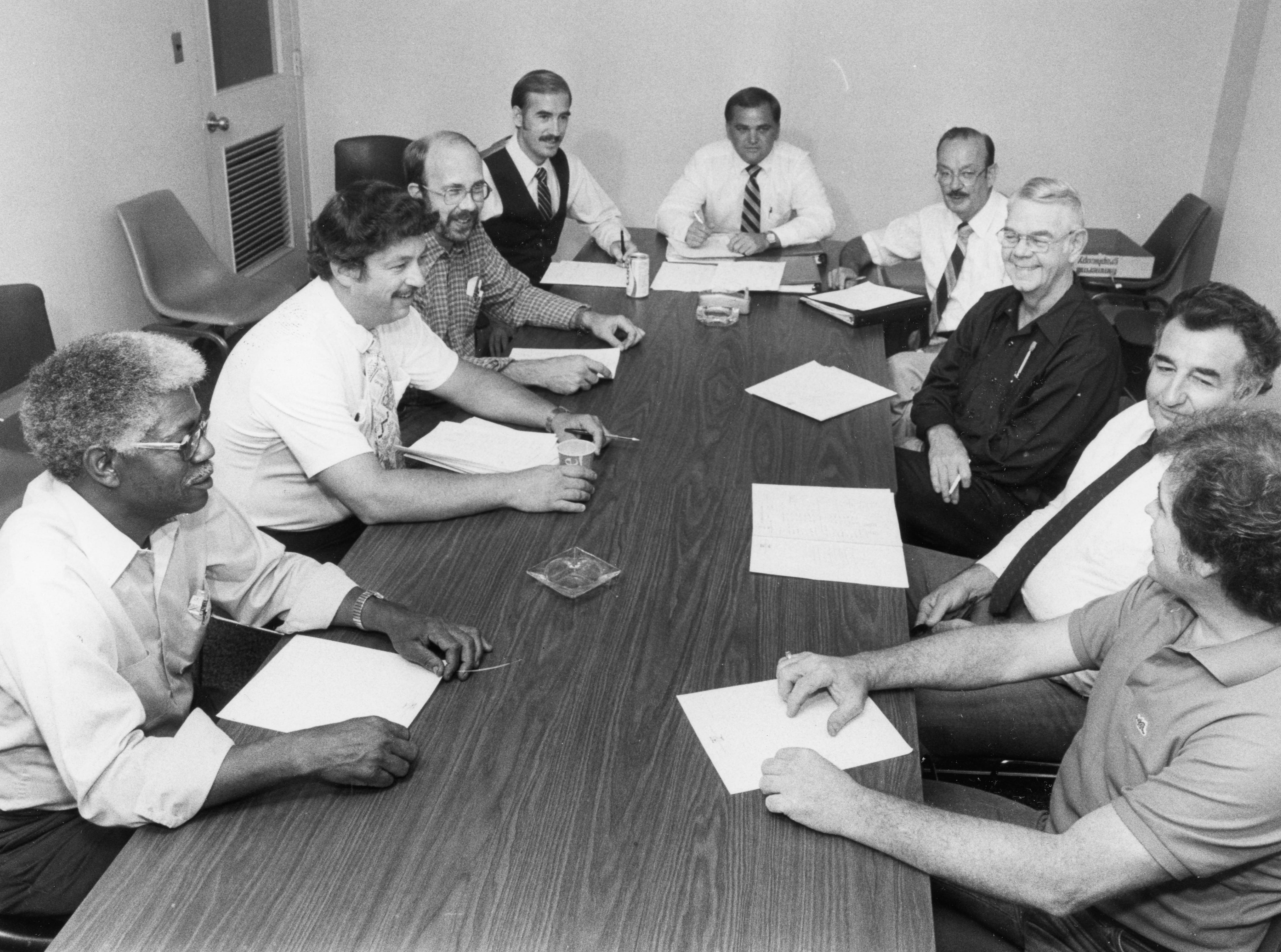 News Sentinel production department managers, from left, Jesse Carrington, unidentified, John McNeil, Mike Corum, Ted Milligan, Bob Austin, Charlie Walston, Doug Holt and unknown. Undated photo.