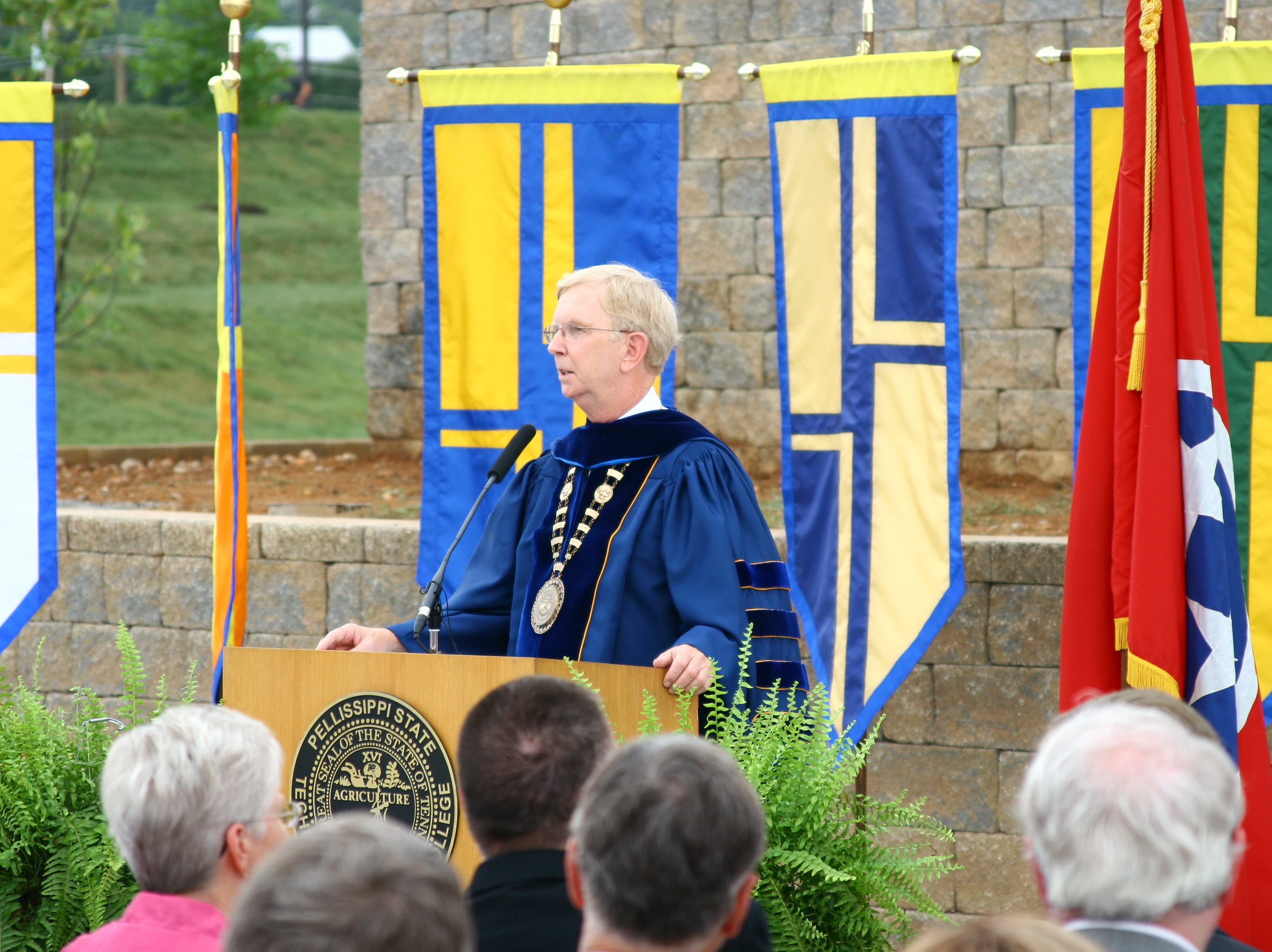 Pellissippi State Community College President Allen Edwards speaks at the opening of the college's new Blount County campus Aug. 18, 2010.