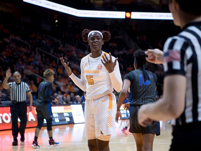 Tennessee's Cheridene Green (15) responds to an official's call during the game against Florida on Thursday, January 31, 2019.
