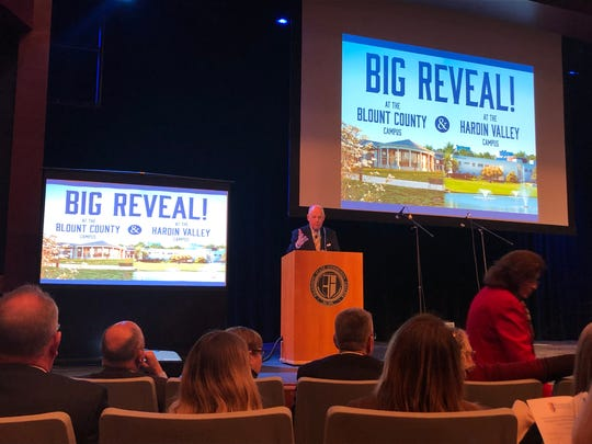 Tom Ballard, chair of The Campaign for Pellissippi State, speaks at the announcement of two new buildings at Pellissippi State Community College on Friday, Feb. 1, 2019.