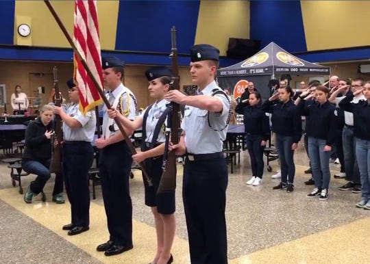 Karns High School JrROTC present the flag for the singing of the National Anthem to open the Community Winter Bazaar held at Karns High School Saturday, Jan. 26. Pictured from left is Gianne Santos, 16, Ryan Jacobik, 17, Alexia White, 18, and Dylan Jacobik, 17.