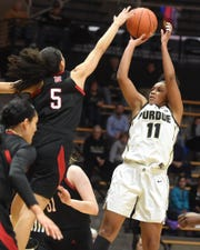 Scenes from Thursday's battle between the Purdue women and Nebraska. Dominique Oden.