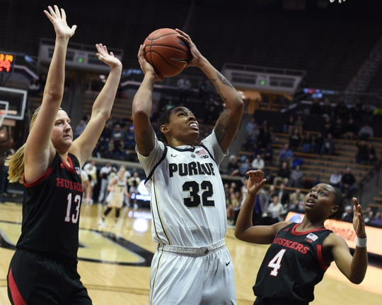 Scenes from Thursday's battle between the Purdue women and Nebraska. Ae'Rianna Harris.