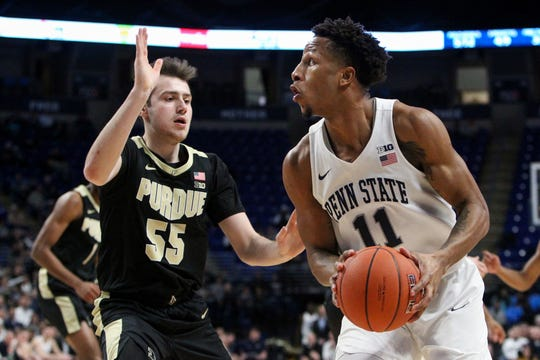 Jan 31, 2019; University Park, PA, USA; Penn State Nittany Lions forward Lamar Stevens (11) drives the ball to the basket as Purdue Boilermakers guard Sasha Stefanovic (55) defends during the first half at Bryce Jordan Center. Mandatory Credit: Matthew O'Haren-USA TODAY Sports