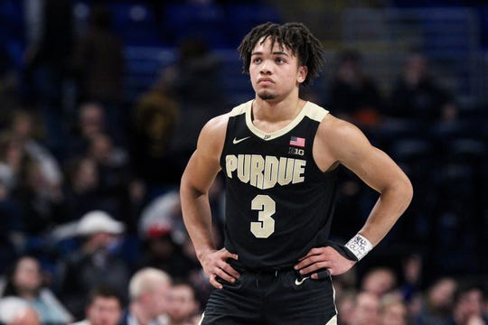 Jan 31, 2019; University Park, PA, USA; Purdue Boilermakers guard Carsen Edwards (3) looks on during overtime against the Penn State Nittany Lions at Bryce Jordan Center. Purdue defeated Penn State 99-90 in overtime.Mandatory Credit: Matthew O'Haren-USA TODAY Sports