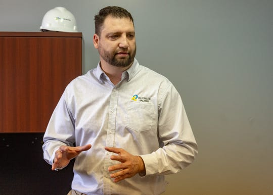 Brady Guillory discusses non-destructive testing (NDT) services performed by Bilfinger Salamis.  Friday, Feb. 1, 2019.