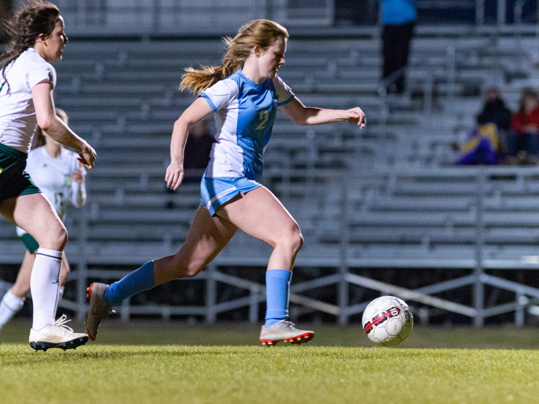 Beverly Richard takes a shot on goal as the Ascension Blue Gators blank the Calvary Cavaliers 6-0. Thursday, Jan. 31, 2019.