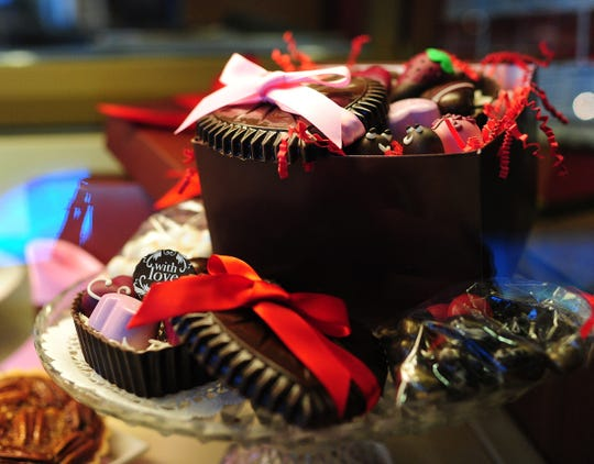 The box of chocolate hearts includes an assortment of heart-themed sweets at Indulge in Lafayette.