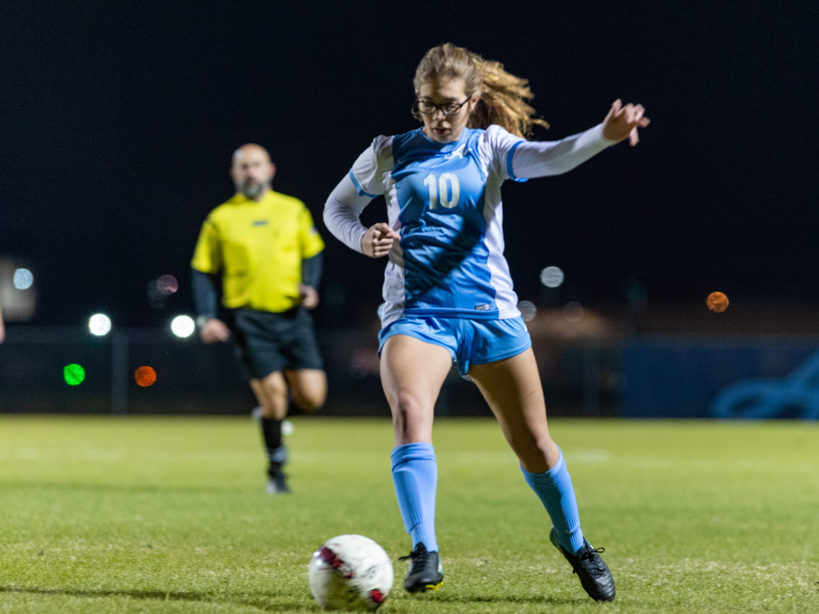 Olivia Renard takes a shot and scores as the Ascension Blue Gators blank the Calvary Cavaliers 6-0. Thursday, Jan. 31, 2019.