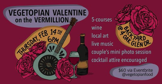 Vegetopia is hosting a vegan and gluten free Valentine's Day Dinner pop up on the beautiful Vermillion River