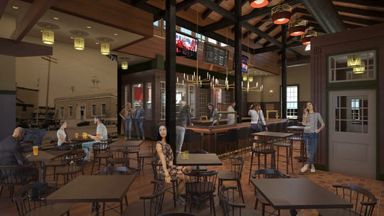 A rendering by The Think Shop Architects shows what the interior of Old Post Brewing Company will look like after building renovations are completed at a former post office in Howell.