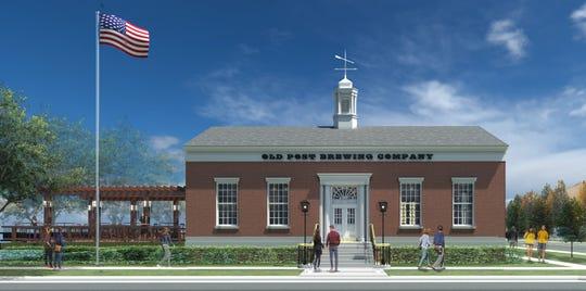 An architectural rendering created by The Think Shop Architects shows what Old Post Brewing Company will look like after restoration work and a new patio is completed at a former post office in downtown Howell. City officials plan to revise an ordinance to allow the brewery.