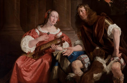 Jan de Bray, Dutch, about 1627–1697, A Couple Represented as Ulysses and Penelope, 1668, Oil on canvas, Speed Art Museum, Gift of the Charter Collectors, 1975.24