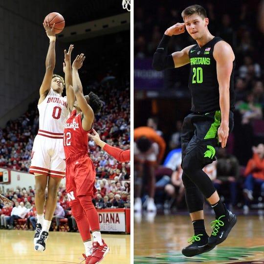From left: Indiana's Romeo Langford and Michigan State's Matt McQuaid.