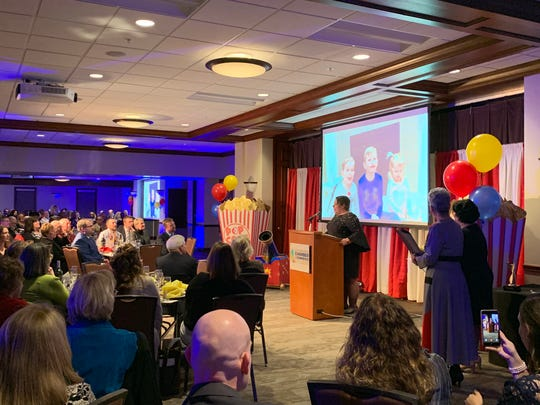 Jodie Perry, president of the Richland Area Chamber of Commerce, addresses the crowd after winning the 2019 Athena Award on January 31, 2019.