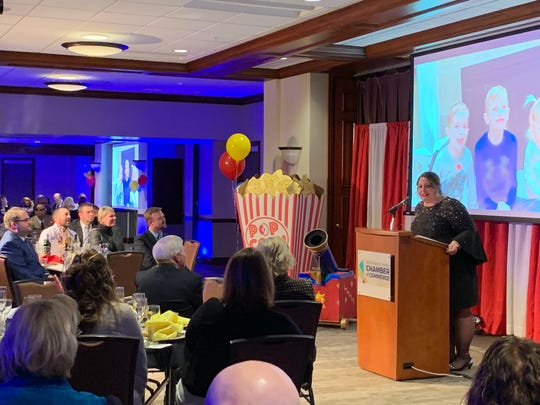 Jodie Perry, president of the Richland Area Chamber of Commerce, addresses the crowd after winning the 2019 Athena Award January 31, 2019.