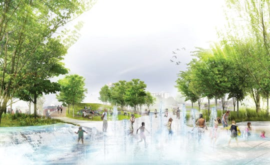 An entry plaza welcomes visitors to riverfront and park activities. Water features and native plants evoke the movement of the river while open areas can accommodate public gatherings, art installations and festival tents.