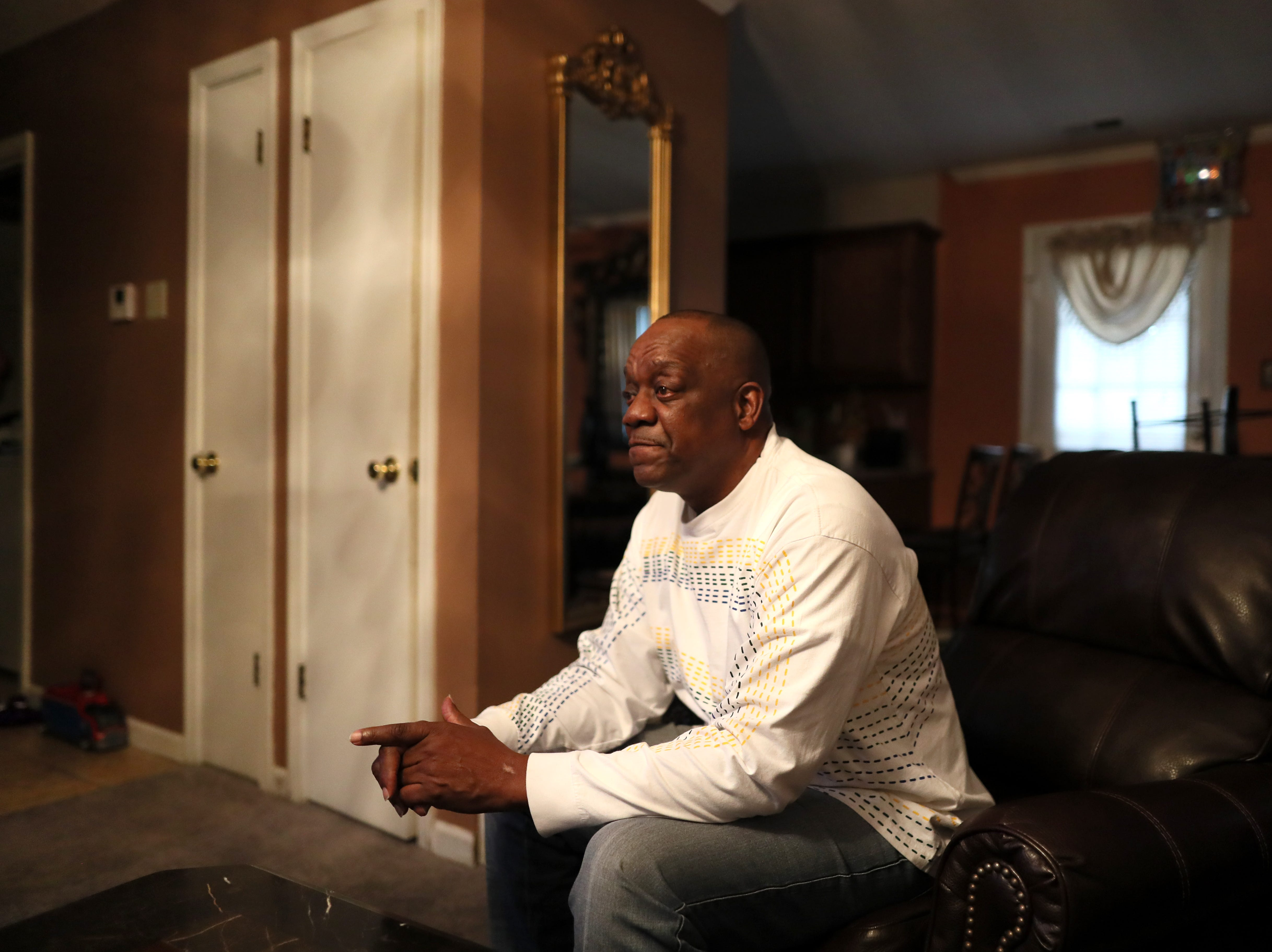 Reginald Johnson talks about his son, Samuel who was murdered at age 21 outside of his home on Halloween 2014, and his son's room which has remained unchanged in his house since that day during a conversation about gang violence in Memphis on Thursday, Jan. 31, 2019.