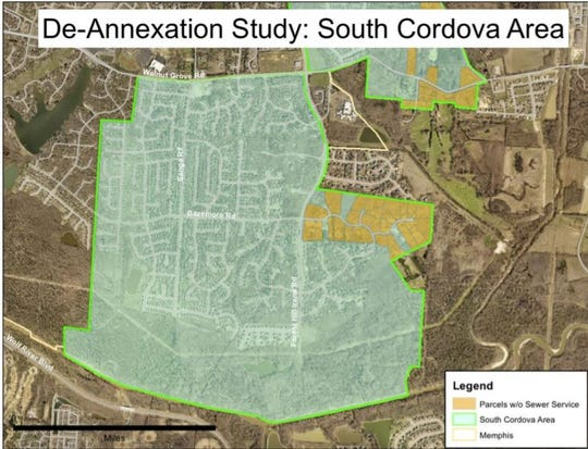 The proposed South Cordova de-annexation area is located south of Walnut Grove Road in the vicinity of Sanga Road and Forest Hill Road, extending south to the Wolf River. It includes 2.3 square miles and has a population of about 4,000 people.